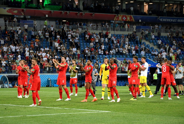 England players applaud their fans after Tunisia win at World cup 2018