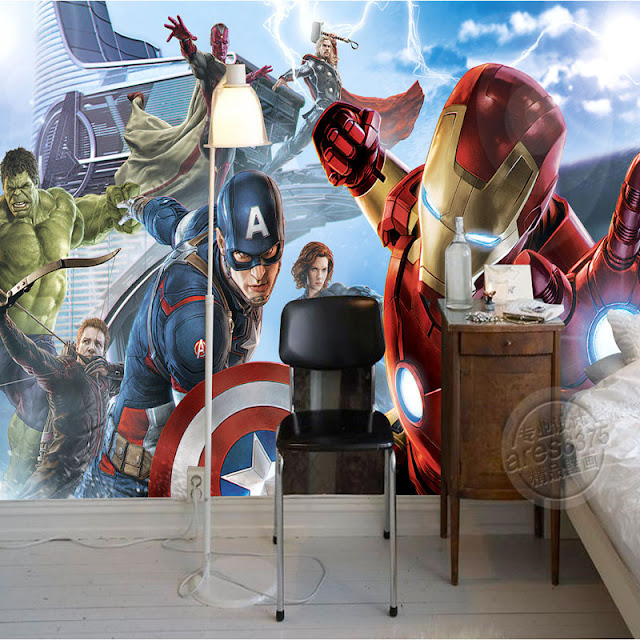 Wall Murals for Kids Rooms Wallpaper Avengers Marvel Iron Man boys