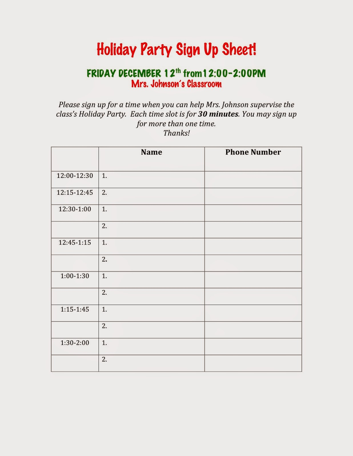 avenue b: Holiday Party Sign Up Sheets