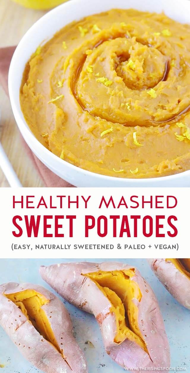 Learn how to make the best mashed sweet potatoes that are super flavorful & healthy! This is the best method for bringing out their natural sweetness with hardly any work. Fix this easy side dish recipe any time you're craving comfort food! (gluten-free, paleo & vegan) #thanksgivingrecipes #fallrecipes #sweetpotatoes #healthyrecipes #holidayrecipes #paleorecipes #realfood
