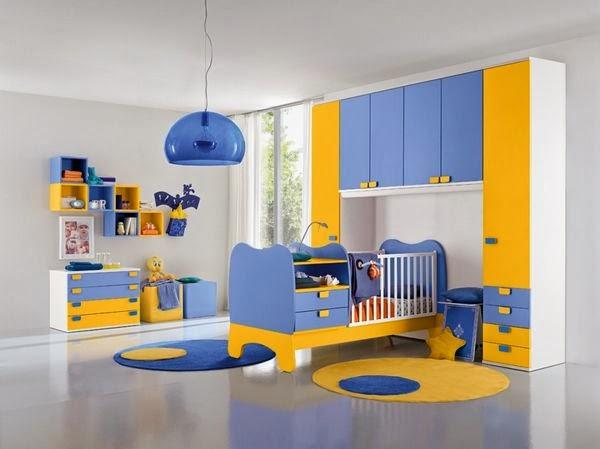 Habitaciones de beb en azul y amarillo dormitorios - Color paredes habitacion bebe ...
