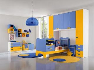 Cuarto de bebé color amarillo azul