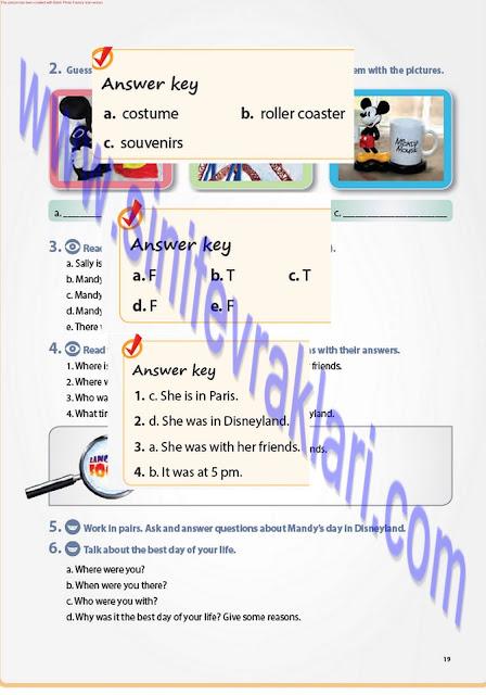 7. Sınıf İngilizce Pantera Yayınları Ders Kitabı Cevapları Sayfa 19