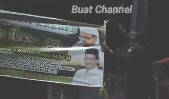 Oknum Banser Yang Copot Spanduk Ramadhan FPI, Akhirnya Minta Maaf dan Pasang Kembali Spanduk