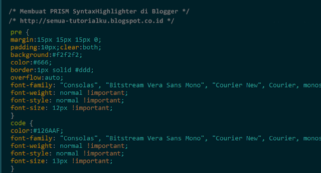 Membuat PRISM SyntaxHighlighter di Blogger