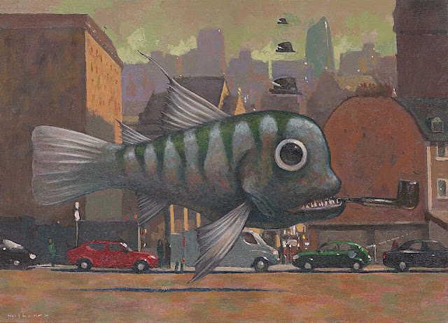 An acrylics on paper absurdist painting of a fish for an exhibition with the Illustrators Guild of Ireland and Luan Gallery in Athlone.