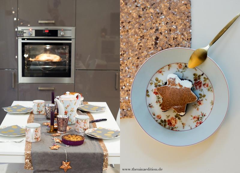 weihnachtliche Teetafel und Weihnachtsdessert: Zimteisstern mit Apfelkern