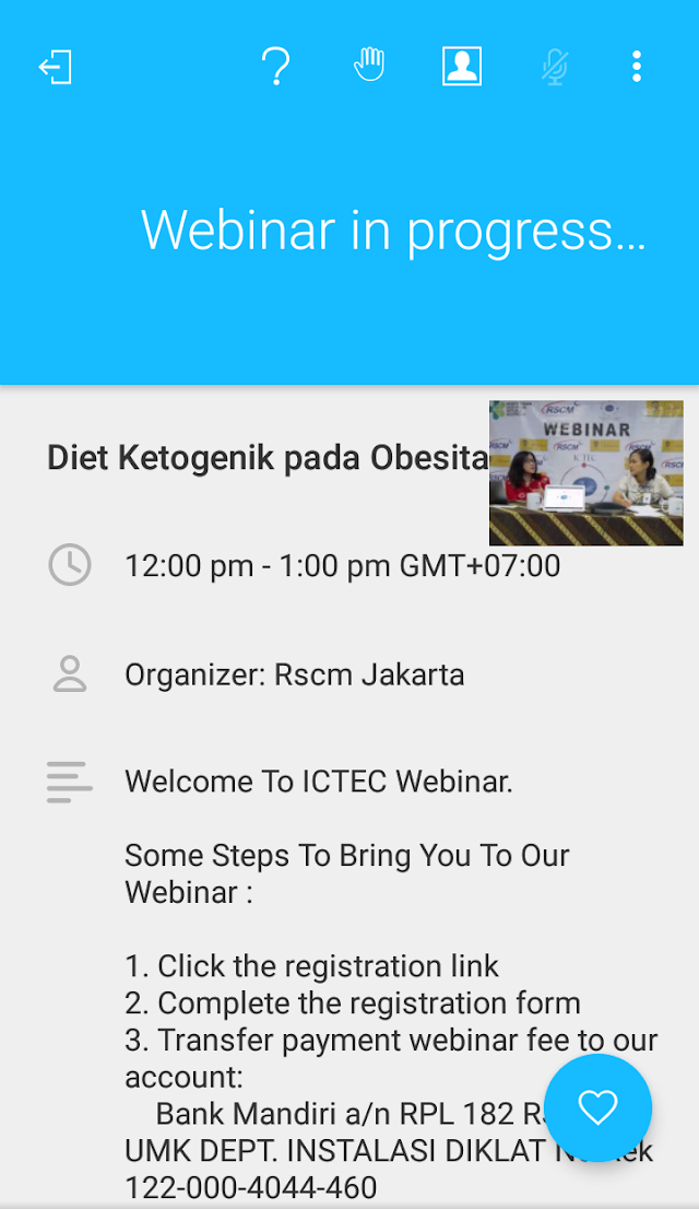 """Pengalaman Ikut Webinar """"Diet Ketogenik in Obesity""""  via Aplikasi GoToWebinar"""
