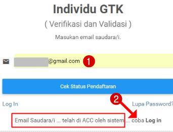 Cara Cek Status Pendaftaran Akun Verval Individu GTK