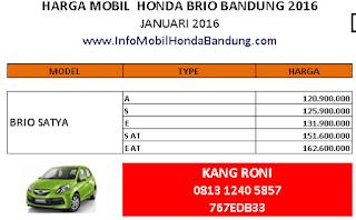 0813.1240.5857, Honda Bandung 2016, Promo Awal Tahun Honda Bandung Januari 2016, Harga Mobil Honda