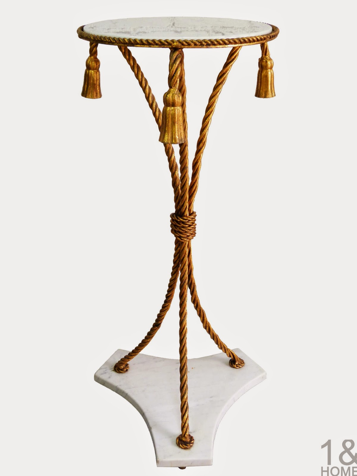 Italian Marble Gold Rope Plant Stand