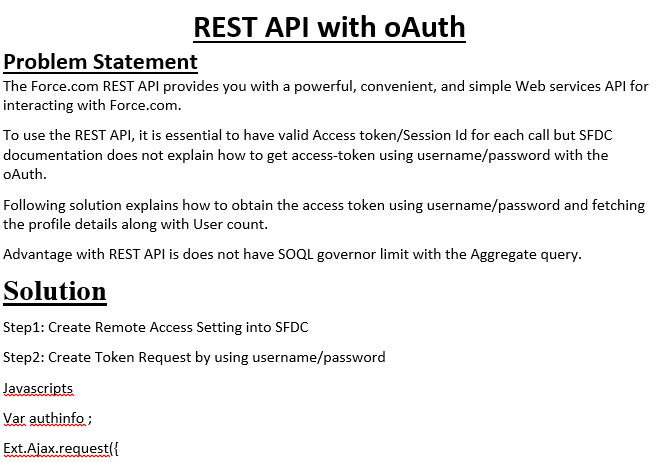 REST API with oAuth ||sfdc || interview stuff - Interview