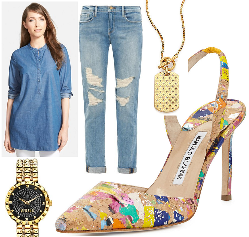 double denim outfit idea paint splatter heels