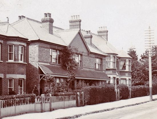Image: The first telephone exchange serving North Mymms c1915  68 Hatfield Road, Potters Bar, gable-fronted house in the middle of the picture  Note the telegraph pole next to the exchange  Image courtesy of the Peter Miller Collection
