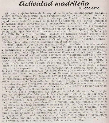 Artículo de Manuel Golmayo en Ajedrez Español, junio 1957