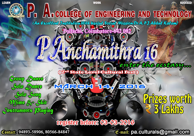 PAnchamithra'16: Cultural Fest at PA College of Engineering, Coimbatore