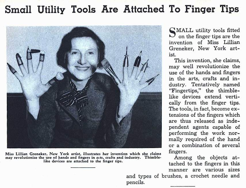 Lillian Greneker, 1937 finger tools
