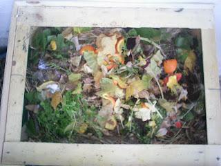 caja del compostador llena