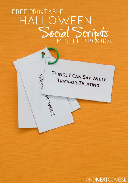 Free printable Halloween trick-or-treating speech social scripts for kids with autism or hyperlexia from And Next Comes L