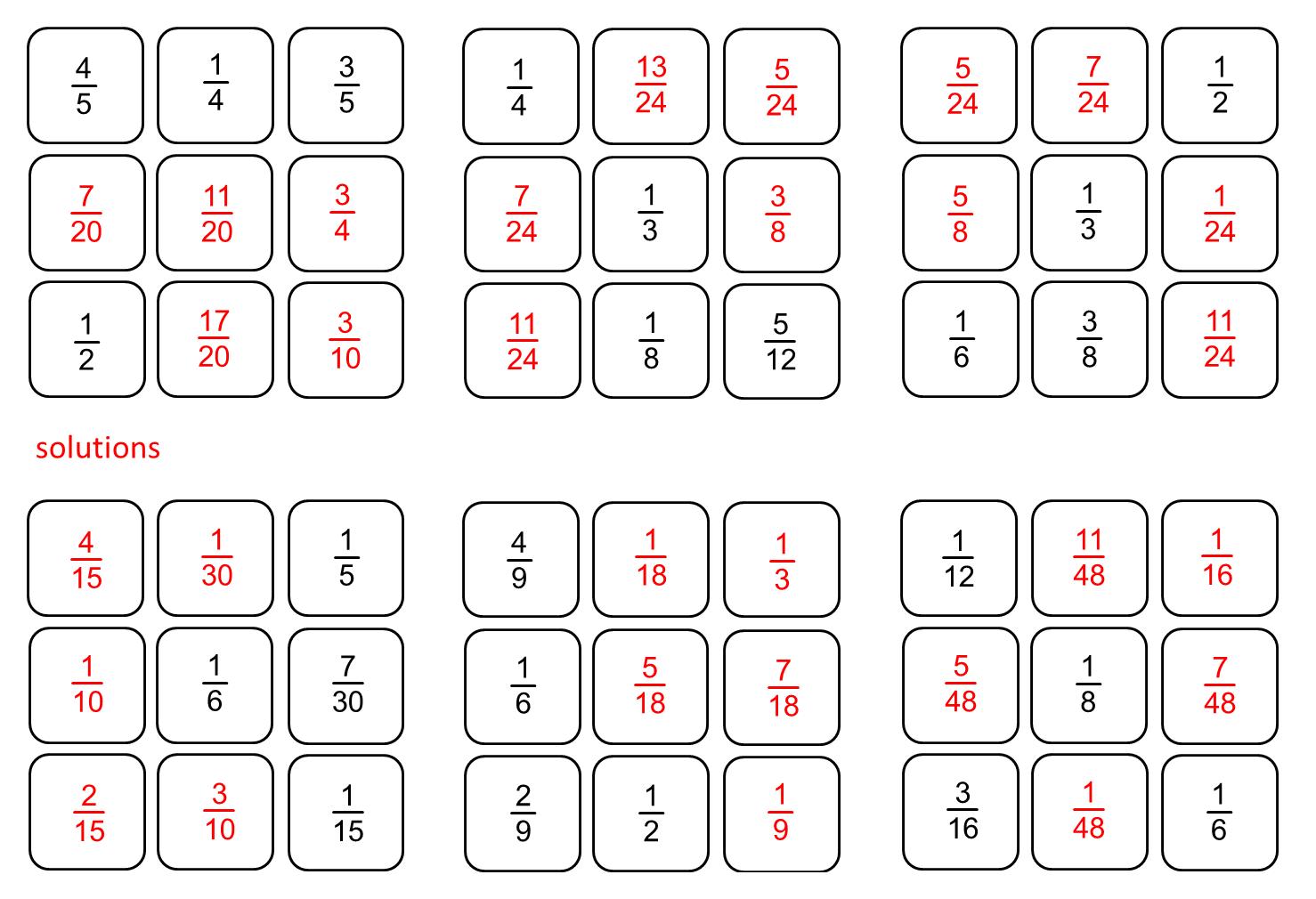 Median Don Steward Magic Squares Fraction Practice