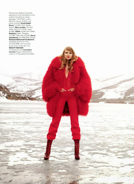 Big red fur coat featuring Eniko Mihalik shot by Terry Richardson