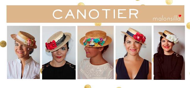 Invitada boda con sombrero paja gondolero de flores