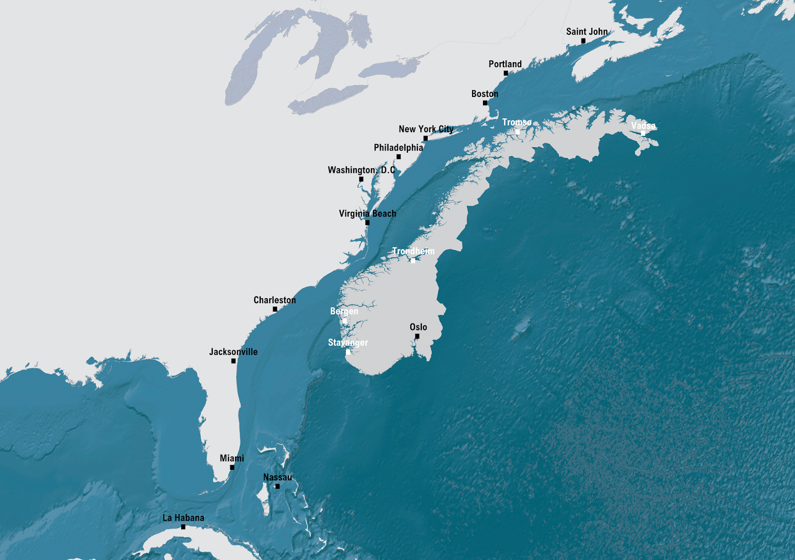 Norway compared to United States Eastern Coast