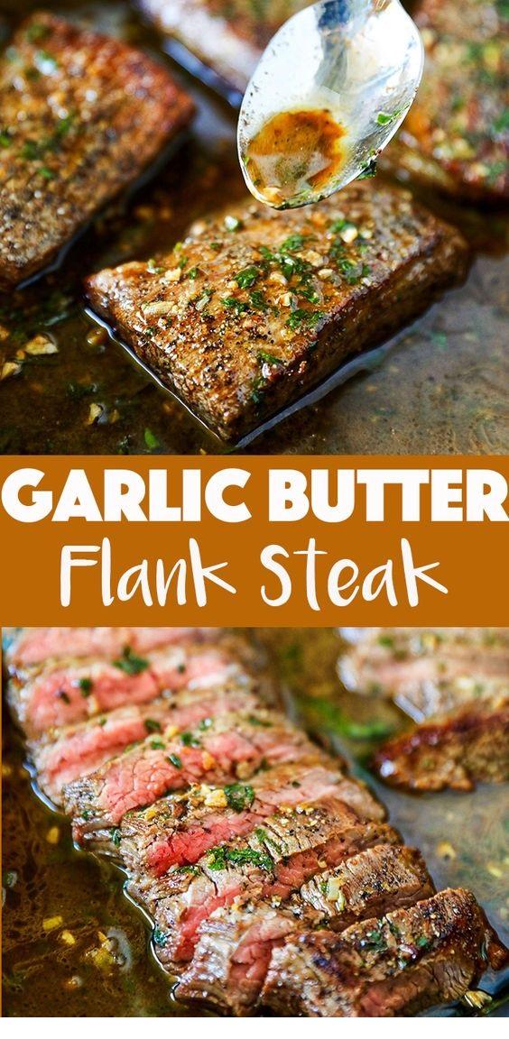 Garlic Butter Skillet Flank Steak Oven Recipe