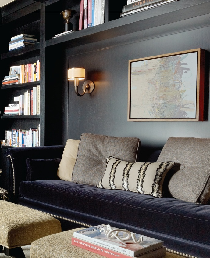 A Perfect Gray Sofa Nook In A Built In Bookcase