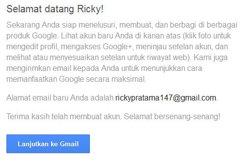 Halaman selamat datang saat Pembuatan email baru Google selesai