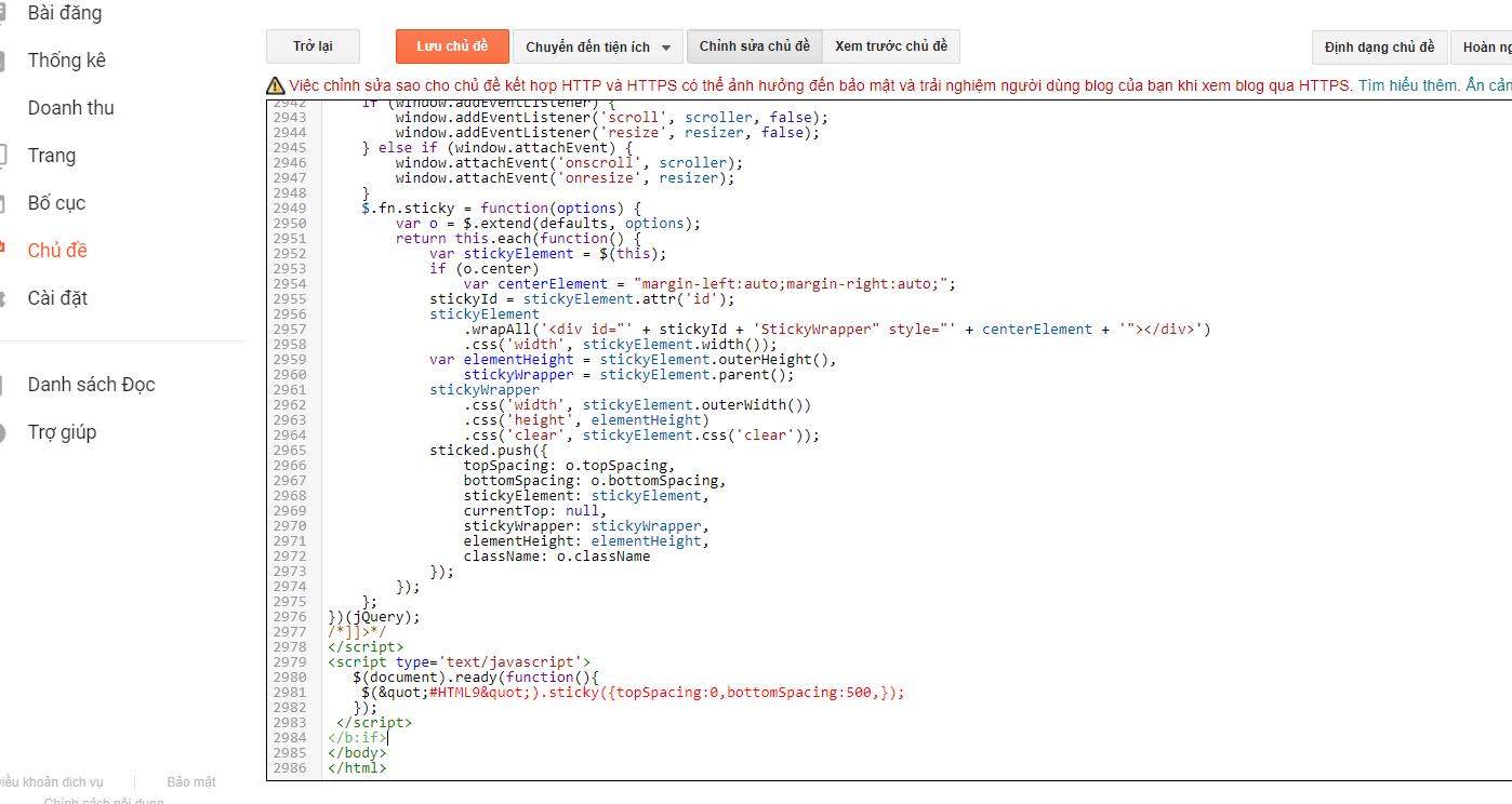 chèn code tạo sticky widget