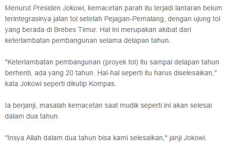 Heheh Jadi Pemimpin Kok Bisanya Cuman Menyalahkan :v Saat Mudik Terjadi Macet Parah sampai dengan 40 Km, Presiden Jokowi: Akibat Keterlambatan Selama 8 Tahun, Hem Nyindir Siapa lagi nih ? Hahaha - Commando