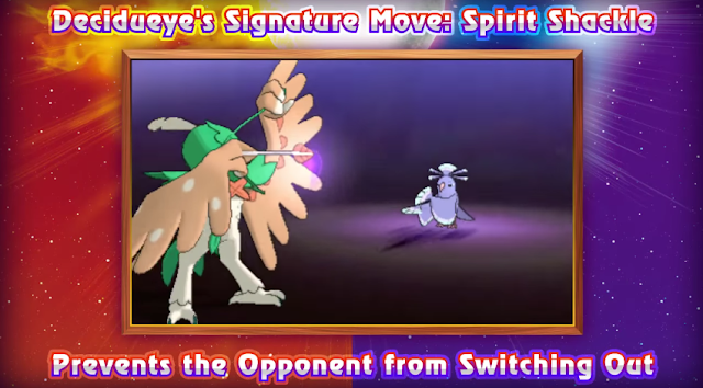 Decidueye Rowlet's fully evolved form Pokémon Spirit Shackle grass archery bow arrow feather