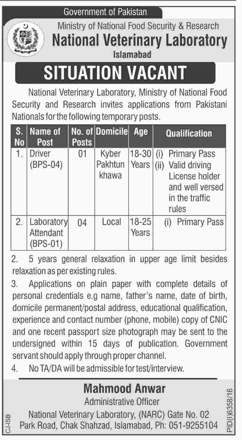 Bps-1 to Bps-4  job In Ministry Of National Food And Security Research Islamabad 25 May 2017