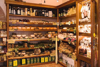 A pecorino shop in Pienza, Val d'Orcia, Tuscany