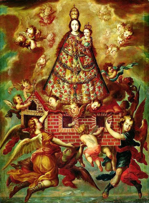 Translação da Santa Casa de Loreto.  Pintura anônima do século XVII, México