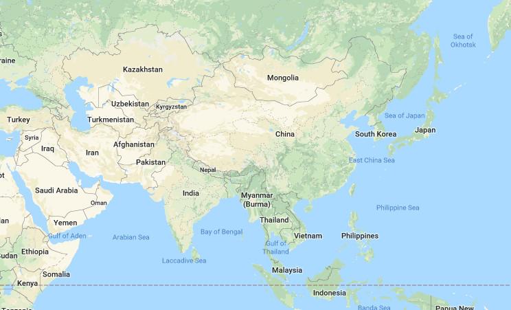 Peta Asia Tenggara Barat Selatan Timur Lengkap Jelas Gambar Benua