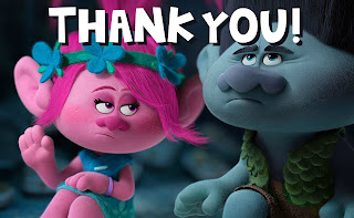 Free Trolls Movie Thank You Card