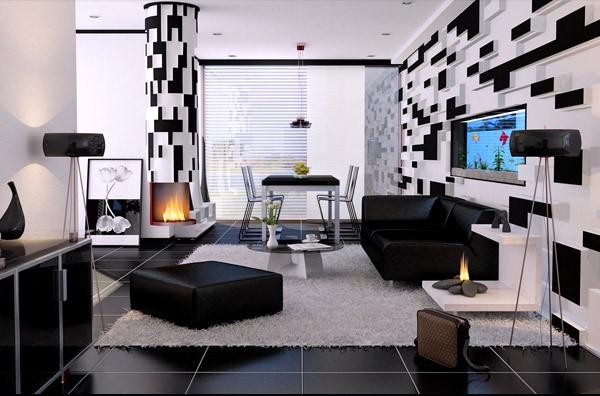 Ruang Tamu Modern Kontemporer Hitam Dan Putih
