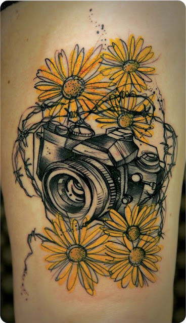 Watercolor Camera & Sunflower Tattoo Ideas