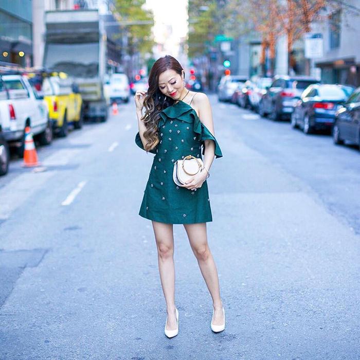 cmeo collective embellished dress, chloe nile bag, sam edelman heels, kendra scott earrings, date night outfit ideas