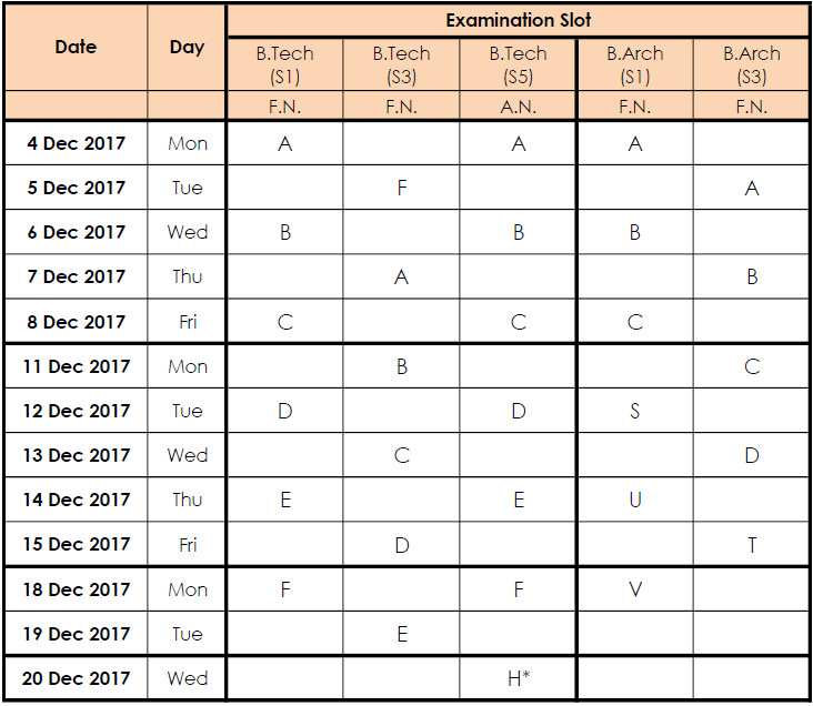 Btech Barch time table ktu december 2017