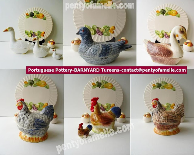 Nice farm life Banyard faience tureens.Two Hen, chicken, Blue Pigeon, Snow Geese and Gander figural. Portuguese pottery.