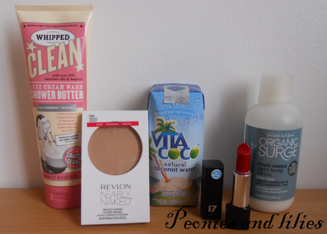 Soap and glory whipped clean shower butter, Revlon nearly naked pressed powder, Vita coco coconut water, Organic surge fresh ocean body lotion, 17 mirror shine lipstick in Roasted red, March 2013 favourites