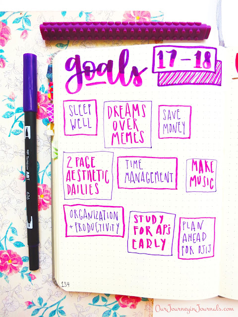 bullet journal goals layout for students