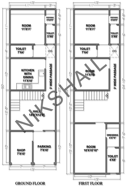 15X50 House plan with 3d elevation option c by nikshail