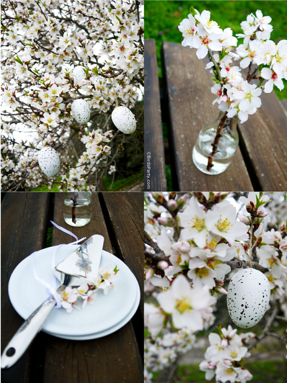 White Easter Brunch Tablescape Decor Party Ideas - BirdsParty.com