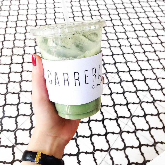Carrera Cafe Iced Matcha Latte Los Angeles Best vegan food travel guide