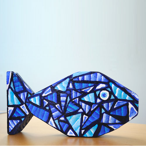 blue and white wooden fish