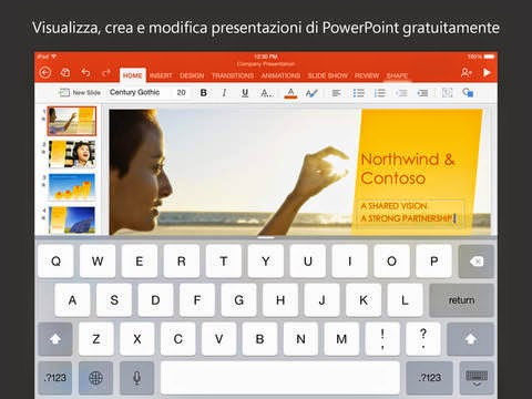 Microsoft PowerPoint gratis per iPad, iPhone e iPod Touch.